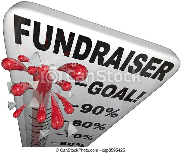 Fundraiser Thermometer Tracks Goal Reached Success - csp8595425