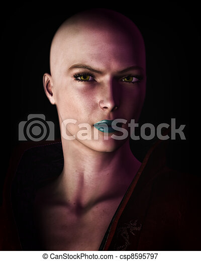 Strong Bald Futuristic Sci-Fi Woman Artistic Portrait - csp8595797
