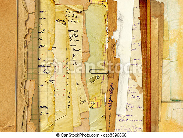 Old archive with letters, photos on the abstract background  - csp8596066