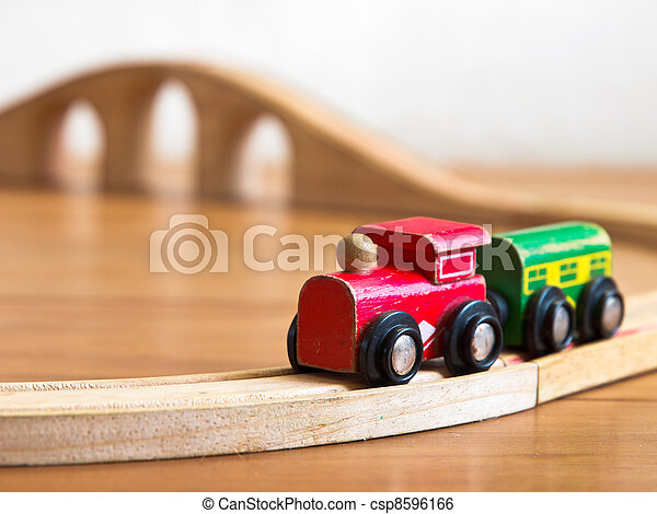 Red and green wooden toy train - csp8596166