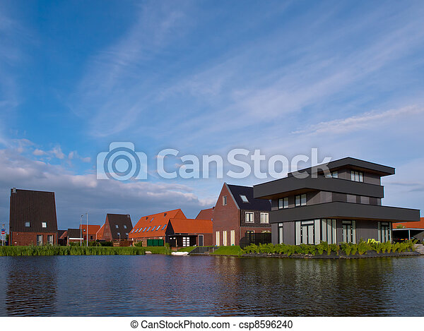 Summer sky above suburban residential area - csp8596240
