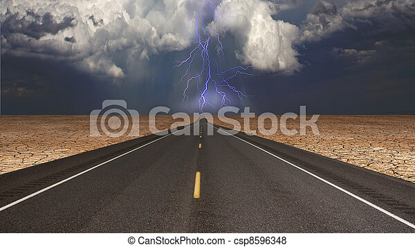 Empty road in desert storm - csp8596348