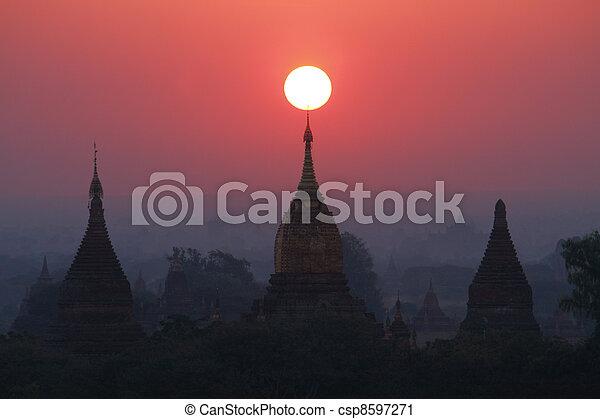 Pagodas , Bagan, Myanmar - csp8597271