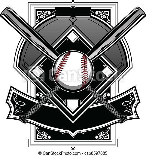Softball Home Plate Clip Art Vector - baseball or softball