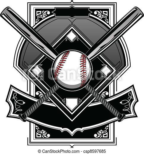 Baseball or Softball Field with Bat - csp8597685