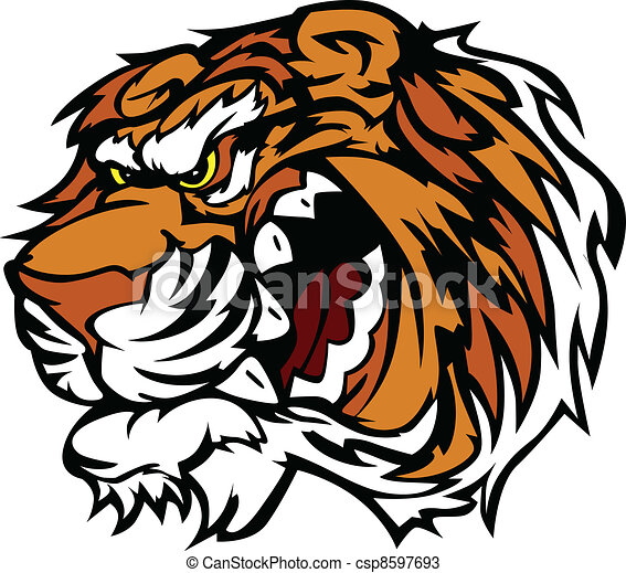 Tiger Cartoon Mascot with Snarling - csp8597693