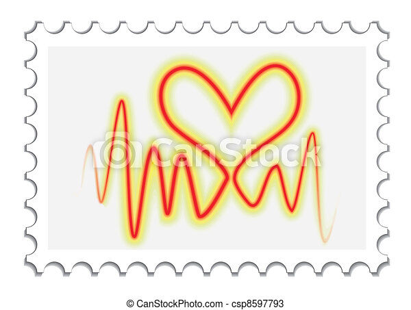 heartbeat on a stamp - csp8597793