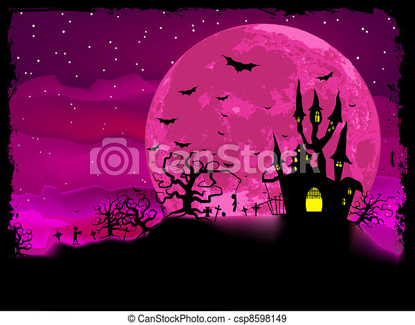 Halloween poster with zombie background. EPS 8 - csp8598149