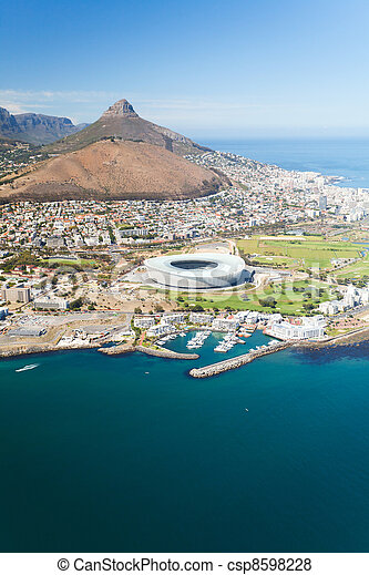 aerial view of green point stadium - csp8598228