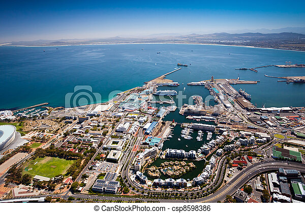 aerial view of cape town harbor - csp8598386