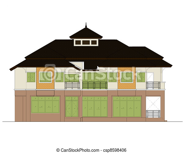 house elevation , color scheme - csp8598406