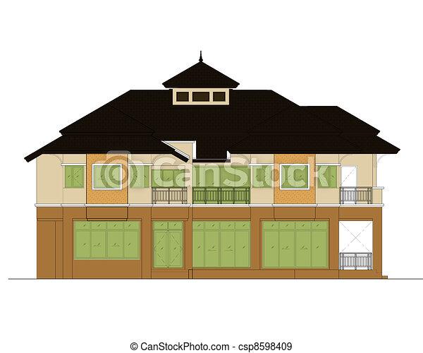 house elevation , color scheme - csp8598409