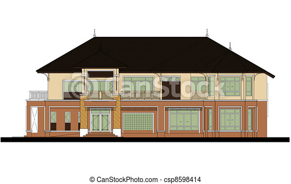 house elevation , color scheme - csp8598414