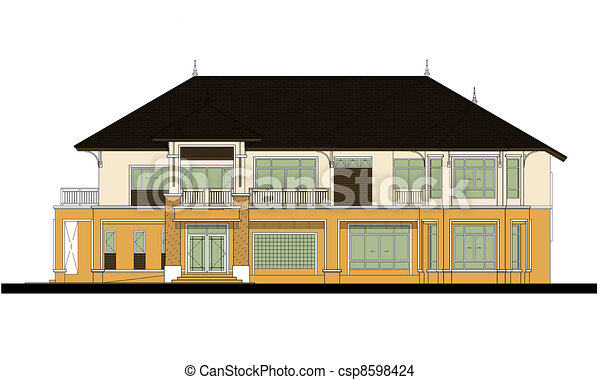 house elevation , color scheme - csp8598424