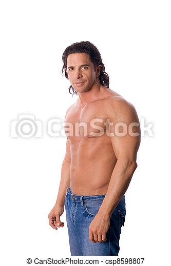 handsome muscular shirtless man in jeans - csp8598807