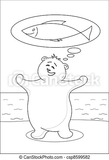 Teddy bear fisherman, contours - csp8599582