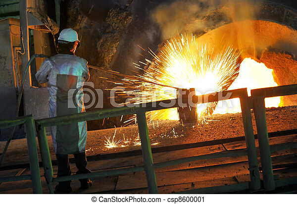 Molten hot steel pouring and worker  - csp8600001
