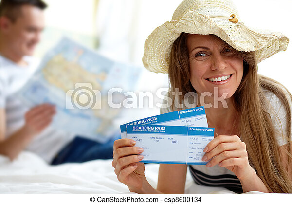 Woman with tickets - csp8600134