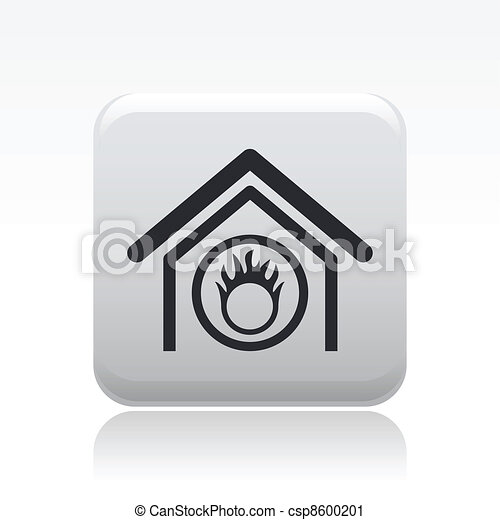 Vector illustration of modern icon depicting a danger signal indoors - csp8600201