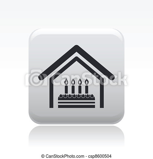 Vector illustration of birthday home celebration single isolated icon - csp8600504