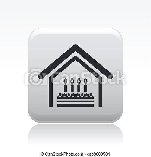 Vector illustration of birthday home celebration single isolated icon - csp8600504