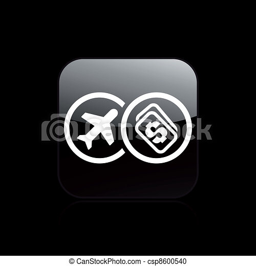 Vector illustration of airplane ticket cost single isolated icon - csp8600540