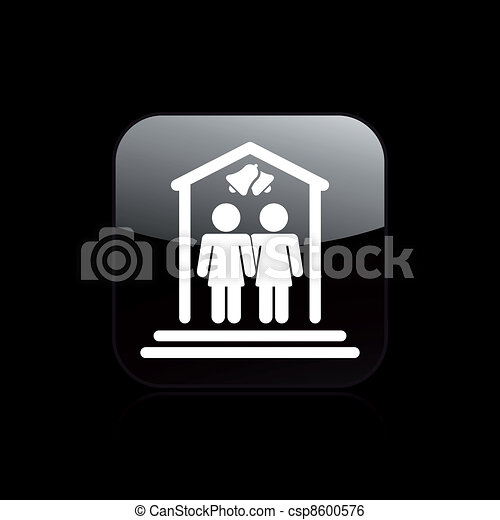 Vector illustration of single isolated lesbian marriage icon - csp8600576