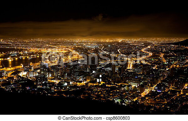 night scene of Cape Town, South Africa - csp8600803