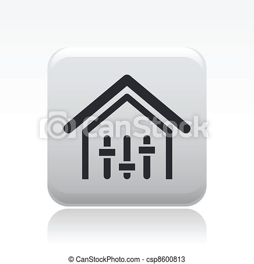 Vector illustration of single isolated house levels control icon - csp8600813
