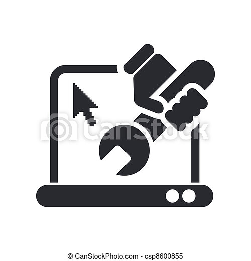 Vector illustration of single isolated pc repair icon - csp8600855