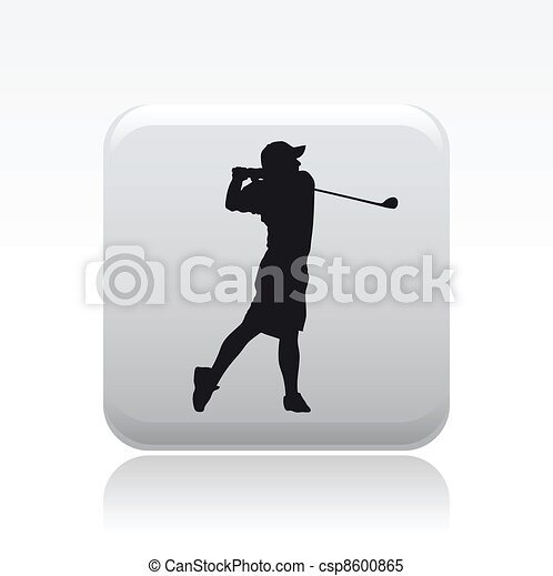 Vector illustration of single isolated golf player icon - csp8600865