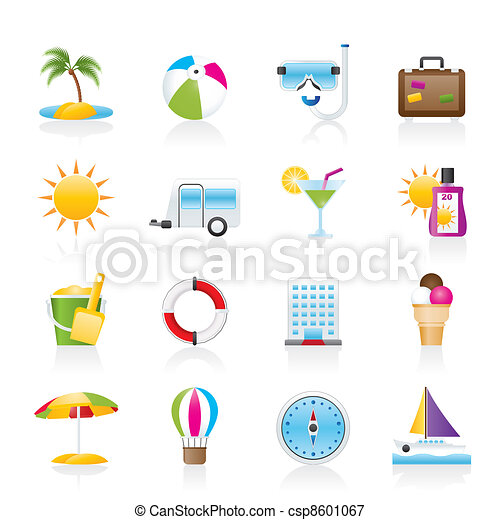 Vacation and holiday icons - csp8601067