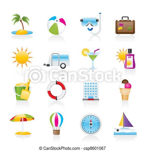 Vacation and holiday icons  - csp8601067