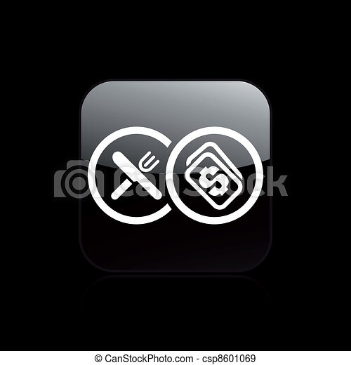 Vector illustration of single isolated restaurant cost icon - csp8601069