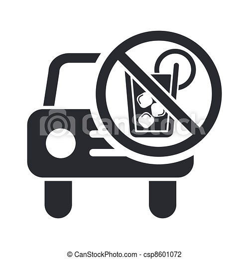 Vector illustration of single isolated drunk drive icon - csp8601072
