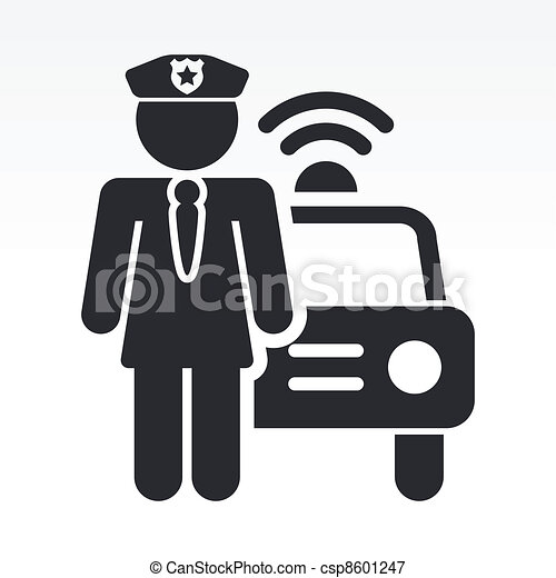 Vector illustration of single isolated police girl icon - csp8601247