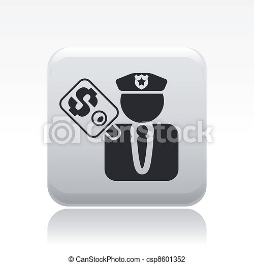 Vector illustration of single isolated cop corruption icon - csp8601352