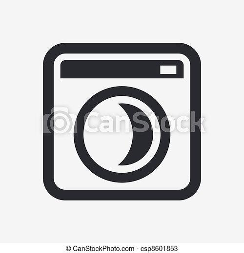 Vector illustration of single isolated washing machine icon - csp8601853