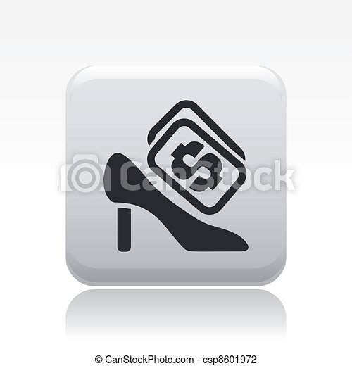Vector illustration of single isolated shoe cost icon - csp8601972