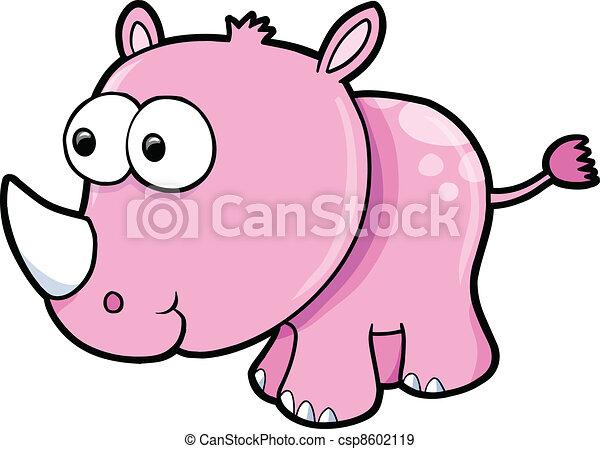 Silly Rhino Safari Animal Vector - csp8602119