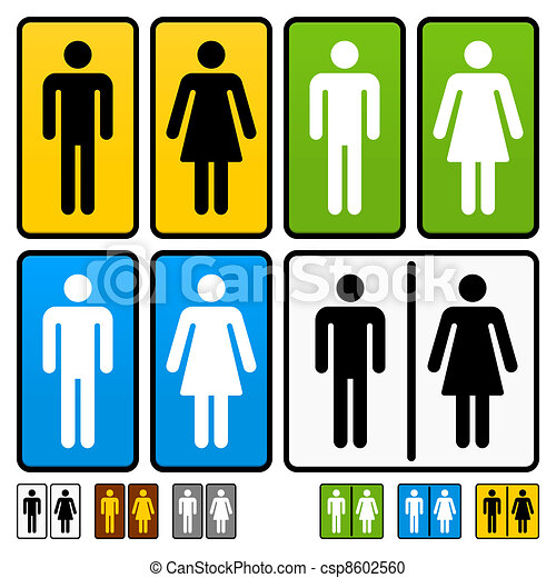Male and Female Restrooms Sign - csp8602560