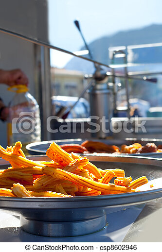churros fried flour fritters spanish dognuts - csp8602946