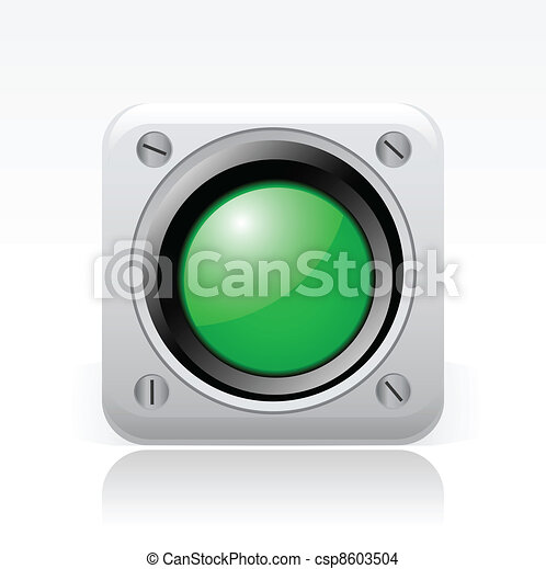 Vector illustration of single isolated green traffic light icon  - csp8603504