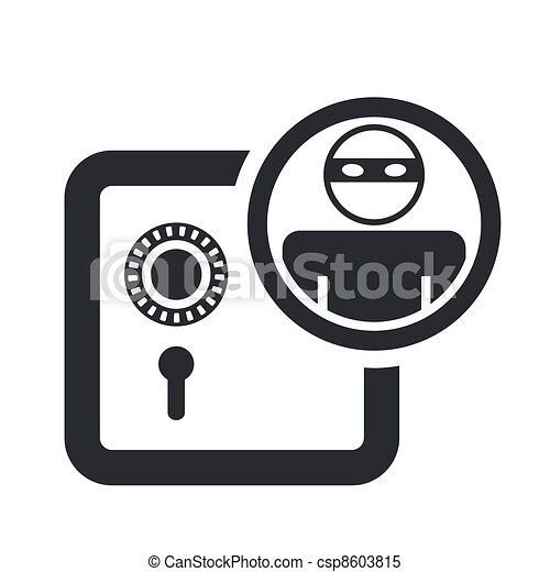 Vector illustration of single isolated bank thief icon  - csp8603815
