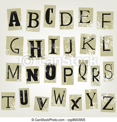 Vector illustration of single isolated letters in collage - csp8603905