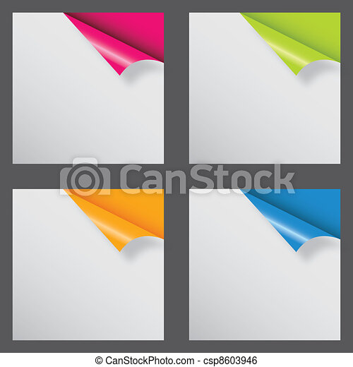 Papers with different corner and place for your text. vector illustration - csp8603946