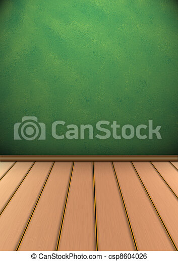 Interior with a board timber floor - csp8604026