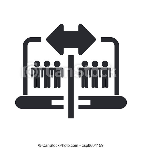 Vector illustration of single isolated pc sharing icon  - csp8604159