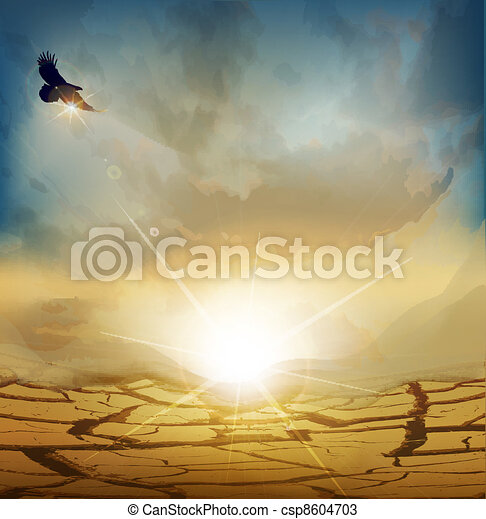 desert landscape with rising sun - csp8604703