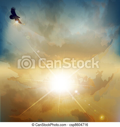 background with high-soaring eagle - csp8604716